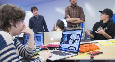 Undergraduate students in a graphic novel class
